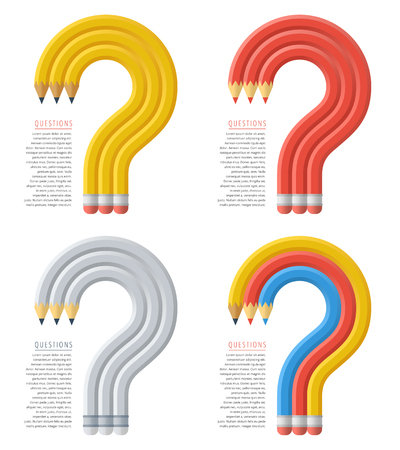 Question marks assembled from pencils. Flat vector illustration. Business difficult problem, trouble resolution, task decision, answer and resolve concept. Design elements for web, social networks. Stock Illustratie