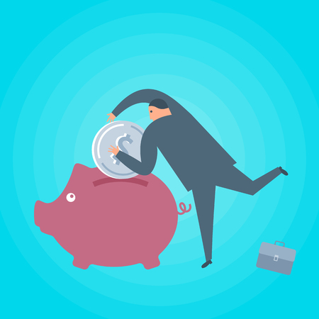 Businessman with money and piggy-bank. Business and finance flat concept illustration. Toss a dollar coin into a piggy bank. Currency, savings, investment, wealth and management vector design element.