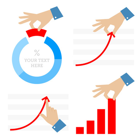 Improvement and development of business. Flat illustration of businessman's hand with pie chart, diagram and graph arrows. Businessman pull column of graph, push growth arrow to get success and profit
