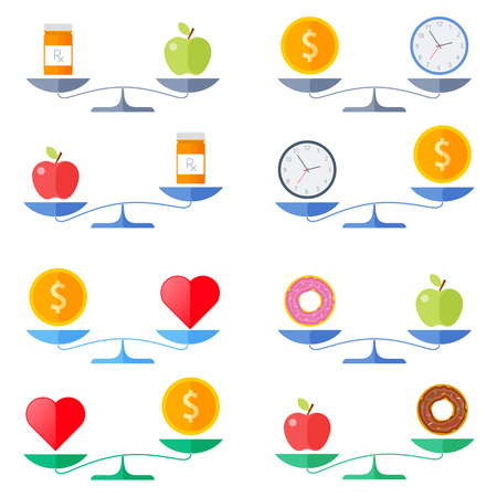 Scales with coin and heart, apple and donut, money and clock, healthy food and pills symbols. Flat concept illustration of balance, libra with wealth, health, time icons. Isolated vector elements. Illustration