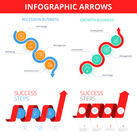 Increase, recession, growth, decline, success business flat concept illustration. Graph arrows depict steps of increase and decrease business. Vector elements for infographic, presentation, networks.