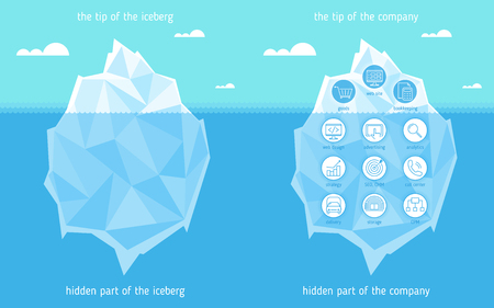Iceberg infographic template. Business concept Illustration of tip and hidden part of iceberg in the sea.  Flat vector design element. Financial metaphor for web, social media, presentations.