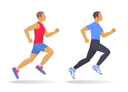 The running man set. Side view of active sporty running young men in a sportswear. Sport, jogging, fitness, workout, active people, concept. Flat vector illustration isolated on white background.