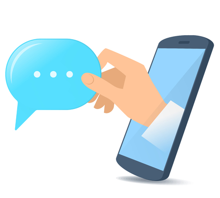 A human hand from the mobile phones screen holds a speech bubble. Modern technology, smart phone apps, text mesage and communication flat concept illustration. Vector design element isolated on white
