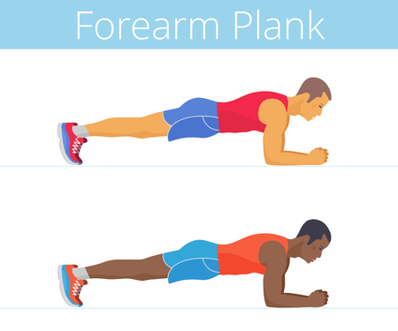 The sporty black and white young men are doing the forearm plank exercise. Flat illustration of caucasian and afroamerican sporty boys are training in the plank posture. Vector active people set. Banque d'images - 112224448
