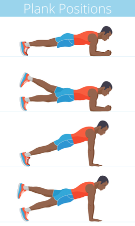 The active black young man in the various plank positions. Afro-american strong adult boy in the sportswear is doing the plank exercises and training in the plank postures. Flat vector illustration.