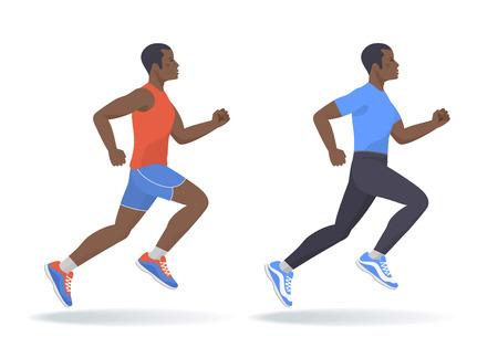 Der rennende Afroamerikaner stellte ein. Seitenansicht von aktiven sportlich laufenden jungen Männern in einer Sportbekleidung. Sport, Joggen, Fitness, Training, aktive Menschen, Konzept. Flache Vektorillustration lokalisiert auf Weiß.