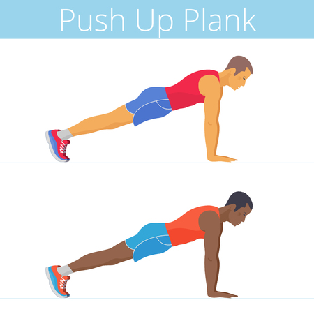 The sporty black and white young men are doing the push up plank exercise. Flat illustration of caucasian and afroamerican sporty boys are training in the plank posture. Vector active people set.