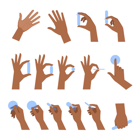 Various gestures of black human hands isolated on a white background. Flat illustration set of afro-american hands holding objects in a different situations. Vector design element for infographic, web Vektoros illusztráció