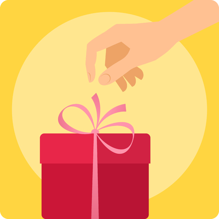 Human hand with the celebration present. Flat illustration of male, female hand reaching for a ribbon on the gift. Vector design elements. Holiday, christmas, new year celebrate and decorate concept. Illustration
