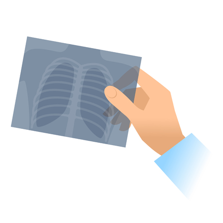 Human hand holds x-ray image of lung. Flat illustration of doctors hand holding radiograph. Medicine, medical exam and diagnosis concept. Vector design elements isolated on white background.
