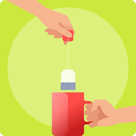 Human hands are holding a red teacup and brewing up the tea. Hand holds by the handle the hot mug with boiling water and another holds the tea bag. Flat vector illustration. Material design elements.