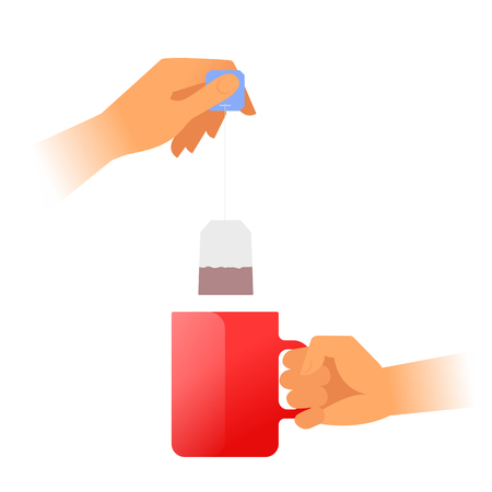Human hands is holding a red teacup and brewing tea. Hand holds by the handle the hot mug with steam and another holds the tea bag. Flat vector illustration. Material design element isolated on white. Vettoriali