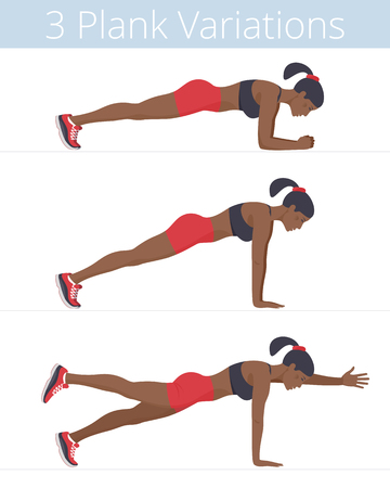 Beautiful black young women are doing the plank exercises. Flat illustration of afroamerican sporty girls are training in the plank positions: forearm, push up, two-point. Vector active people set. Banque d'images - 112224478