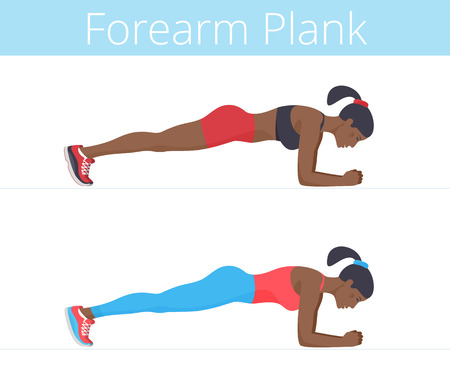 Beautiful black young women are doing the forearm plank exercise. Flat illustration of afro-american sporty girls training in the plank position. Vector active people set isolated on white background. Banque d'images - 112224481