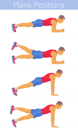 The active white young man in the various plank positions. Caucasian strong adult boy in the sportswear is doing the plank exercises and training in the plank postures. Flat vector illustration.