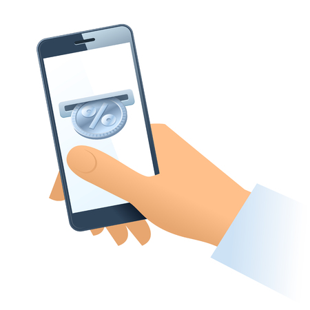 A human hand is holding a mobile phone. A coin slot with silver percent coin is inserting at the screen. Money, discount, cashback, percentage, donation, business concept. Vector flat illustration.