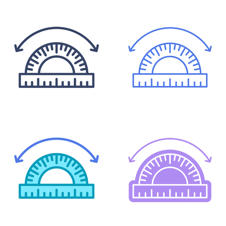 Angle concept linear symbols. Geometric protractor line symbols, pictograms. Angle dimension and measuring vector outline icon set. Thin contour infographic elements for web design, presentations.