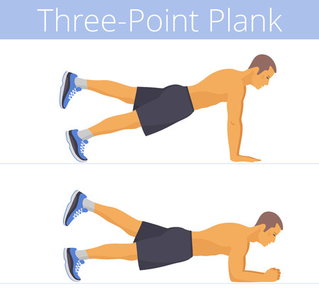 The sporty naked to the waist white young man is doing the three-point plank exercise. Flat illustration of caucasian powerful adult boy is training in the plank postures. Vector active people set.