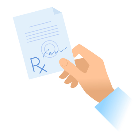 Human hand holds rx prescription. Flat illustration of doctor's hand holding pharmaceutical document. Medicine, medical exam and diagnosis concept. Vector design elements isolated on white background. Illustration