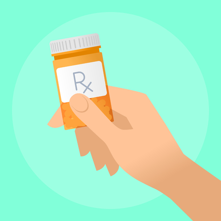 Human hand holds orange pills container. Flat illustration of doctors hand bottle with cure and drug. Medicine, medical exam and diagnosis concept. Vector design elements for web, internet.