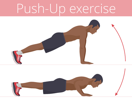 The sporty afro-american man in the sportswear is doing the push-up exercise. Flat illustration of young strong boy training in push up. Vector active people set for sport, fitness design, infographic Vecteurs