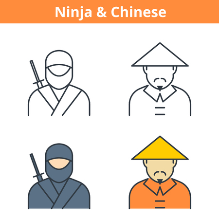 Flat and linear vector avatar set: ninja and chinese. East Asian outline human userpic collection. Colorful thin line face icons for user profiles, web design, social media and infographics.