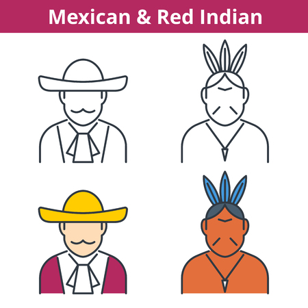 Flat and linear vector avatar set: Mexican and Red Indian. Latin america outline human userpic collection. Colorful thin line face icons for user profiles, web design, social media and infographics.  イラスト・ベクター素材