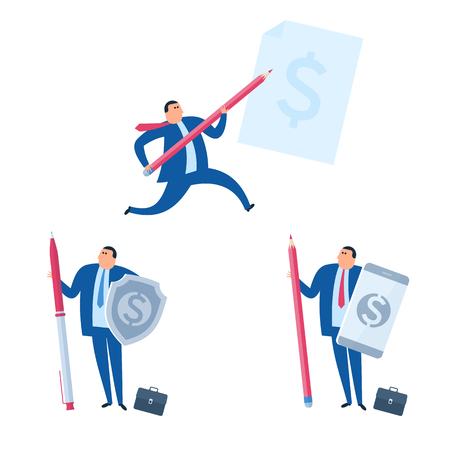 The Business protection and agreement signing concept. Businessman runs with pencil to sign a document. Manager protects company and saves money. Business management flat vector concept illuctration.