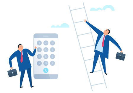 Businessman is dialing number on the smart phone. Manager climbs up a career ladder. Flat vector illustration of man calling on the smartphone and rising up the stair. The professional growth concept.