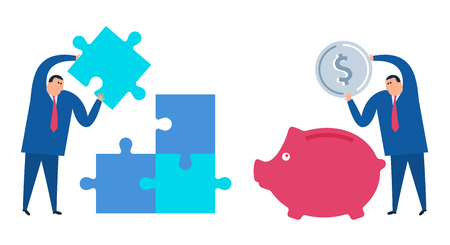 Businessman with coin and piggy-bank. Manager with puzzle piece. Business and finance, problem solution flat concept illustration. Solving, strategy, investment, saving money vector design elements.