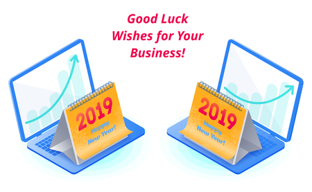 Best wishes for success in business prosperity. The calendar with 2019 number on the business laptop, growing arrow graph on the screen. New Year congrats flat vector isometric concept illustration.