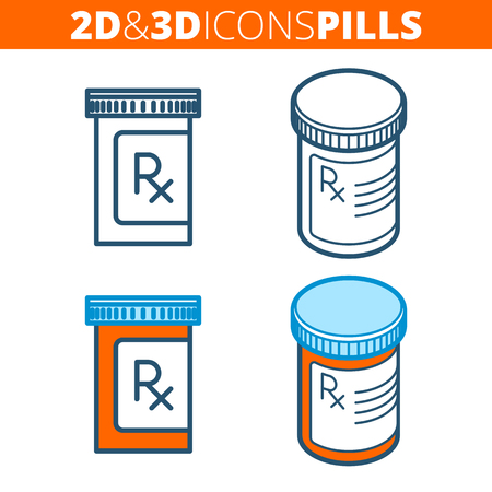 The pill bottle. Flat and isometric 3d outline icon set. The pharmacy, cure, drug, orange container line pictogram. Vector linear infographic elements for web design, social media, presentations.