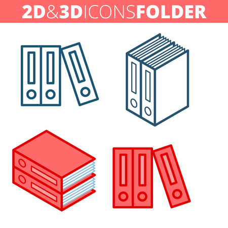 The archive folders. Flat and isometric 3d outline icon set. The office supply and stationery line pictogram collection. Vector linear infographic elements for web design, social media, presentations. Illustration