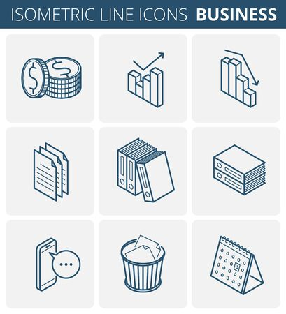 Business stationery. Isometric outline icon set. Vector linear symbols collection. Flat line icons of office supplies: increase, recession, money, coins, documents, folders, wastepaper, calendar.