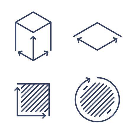 Taille, carré, icônes linéaires de concept de zone. Symboles et pictogrammes de ligne de volume, de capacité, de superficie. Taille et dimension carrée et ensemble d'icônes de contour vectoriel de mesure. Éléments infographiques de contour mince.