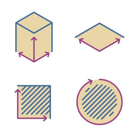 Taille, superficie, icônes de ligne de concept carré. Symboles et pictogrammes linéaires de volume, de capacité, de superficie. Taille et dimension carrée et ensemble d'icônes de contour vectoriel de mesure. Éléments infographiques de contour mince.
