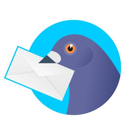 A post pigeon with an envelope in the beak. Flat vector illustration of a homing-pigeon carring sealed letter. Receiving a correspondence, postal, bird, dove mail concept isolated on white background.