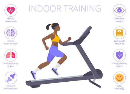 Beautiful black woman is running on the treadmill. Flat vector illustration of athletic young girl in the sportswear doing exercises on the treadmill. Indoor training concept isolated on white.