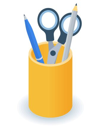 Flat isometric illustration of supplies desktop organizer. Office and school vector concept: pens and pencils yellow holder cup. Business and education workplace element isolated on white background.