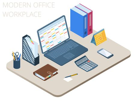 Flat isometric illustration of workplace. Office workspace with modern technologies accessories: laptop, smart phone, personal planner, electronic calculator, organizer. Vector business desk concept.