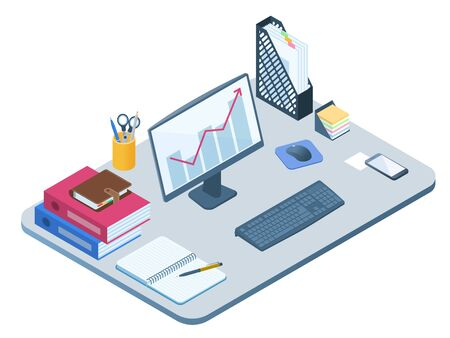 Flat isometric illustration of office workplace. Workspace with modern electronic equipment, stationery: computer screen, smart phone, note book, file folder, personal planner. Vector business concept Ilustración de vector