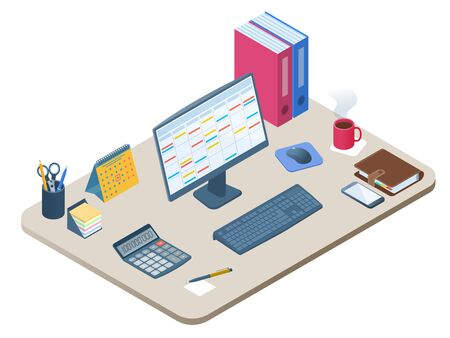 Flat isometric illustration of office workplace. Workspace with modern electronic equipment, stationery: computer monitor, mobile phone, calculator, calendar, personal planner. Vector business concept Ilustración de vector