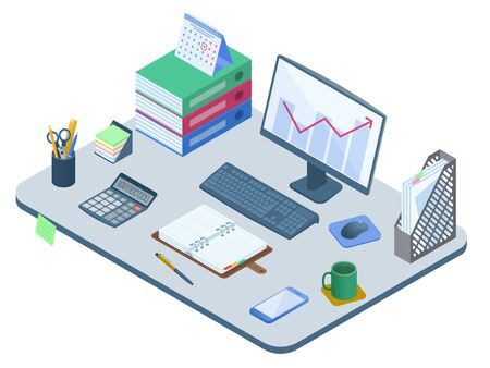 Flat isometric illustration of office workplace. Desk with electronic equipment, supplies and stationery: computer monitor, smart phone, calculator, opened personal planner. Vector business concept.