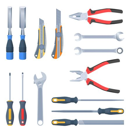 Builder, repair and construction hand tool set. Flat illustration of pliers, adjustable spanner, wrench, rasp, screwdrivers, hammers with, knife, carpentry chisel. Vector isolated instrument set.
