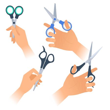 Human hands with various steel scissors with plastic handles. Flat illustration of school, office, hairdressing supplies and accessories. Vector infographic elements isolated on white background.