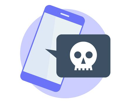 Hackers attacked the smart phone and stole the data. Flat vector illustration of mobile phone and sms bubble with payment requirement. Blackmail, cyber crime concept isolated on white background.