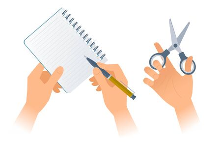Businessman's hands with office supplies: paper notebook, pen, scissors. Vector illustration of human hands holding various business accessories. Flat design elements isolated on white background.