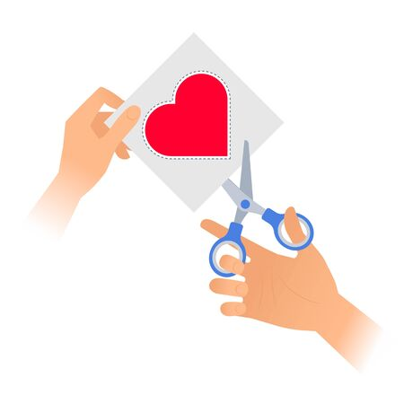 Human hand with a pair of scissors cuts out a heart from paper. Flat vector illustration of red heart shape with dotted line on a piece of sheet and a steel office shears with plastic handles.