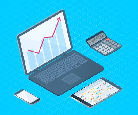 Flat left top view isometric illustration of office desktop electronic equipment. Business and school vector concept of laptop with growth arrow graph, cell phone, tablet pc, mathematical calculator.